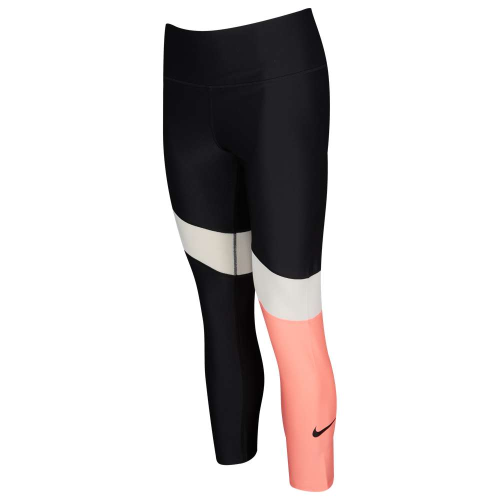 ナイキ Nike レディース フィットネス・トレーニング トップス【Colorblock Power Crop Tights】Black/White/Light Atomic Pink