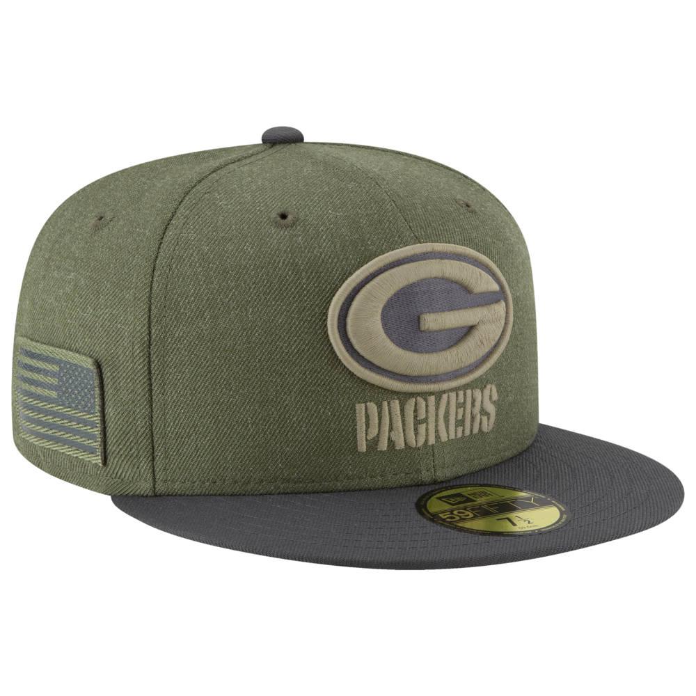 ニューエラ New Era メンズ 帽子 キャップ【NFL 59Fifty Salute to Service Cap】NFL Green Bay Packers Heather Army Sideline