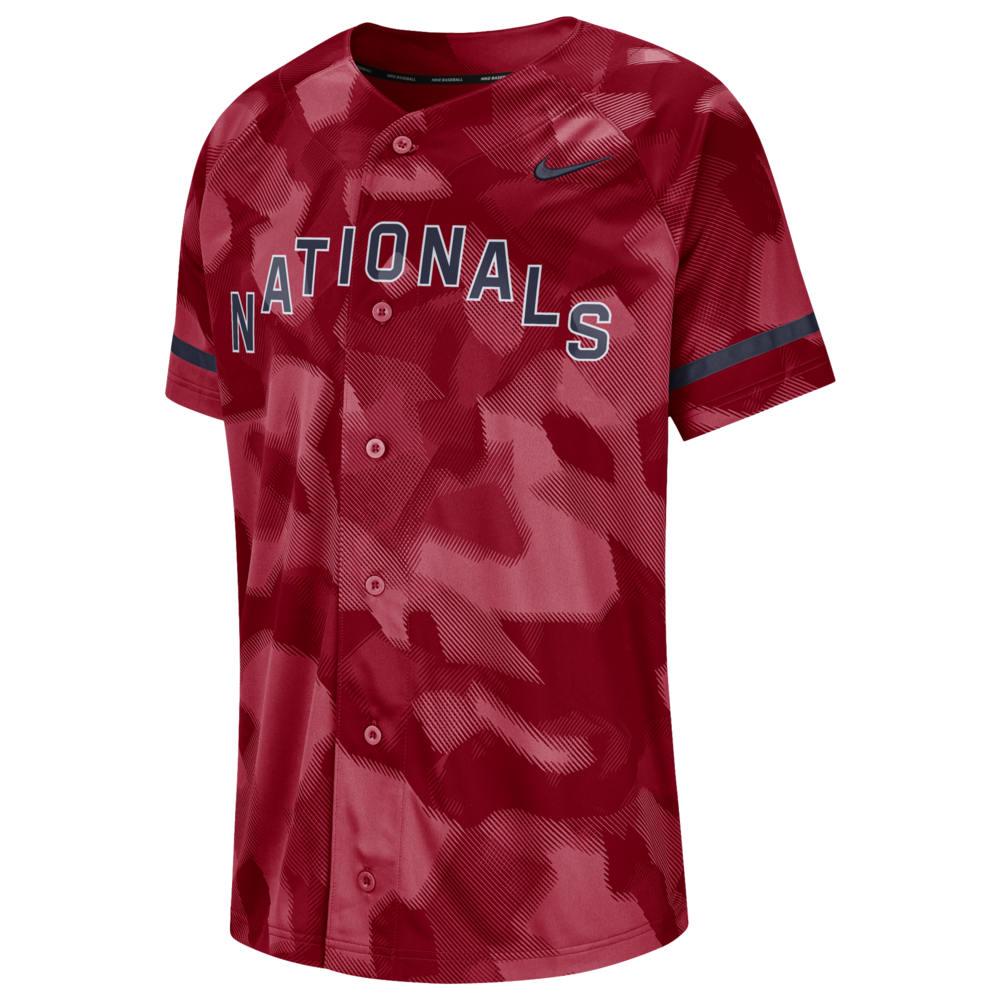 ナイキ Nike メンズ トップス【MLB Full Button Jersey】MLB Washington Nationals Gym Red Camo