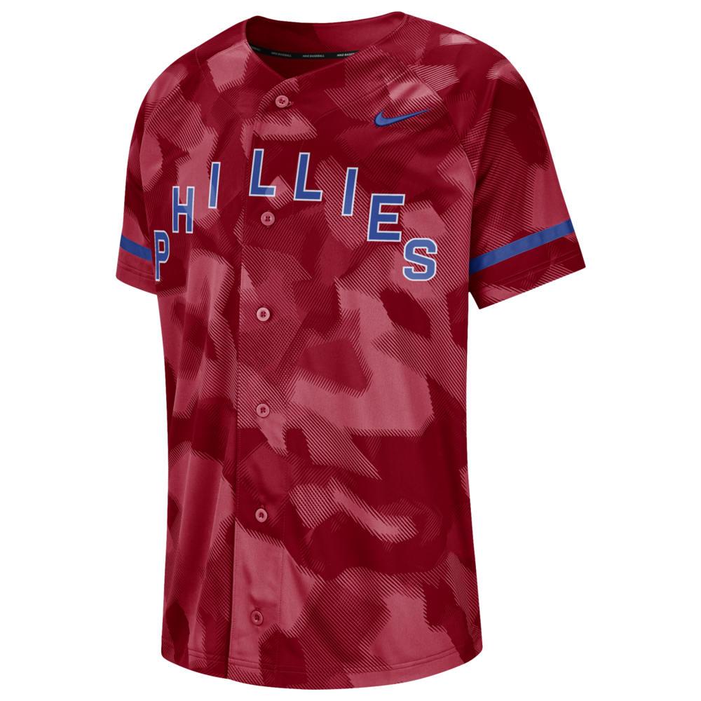 ナイキ Nike メンズ トップス【MLB Full Button Jersey】MLB Philadelphia Phillies Gym Red Camo