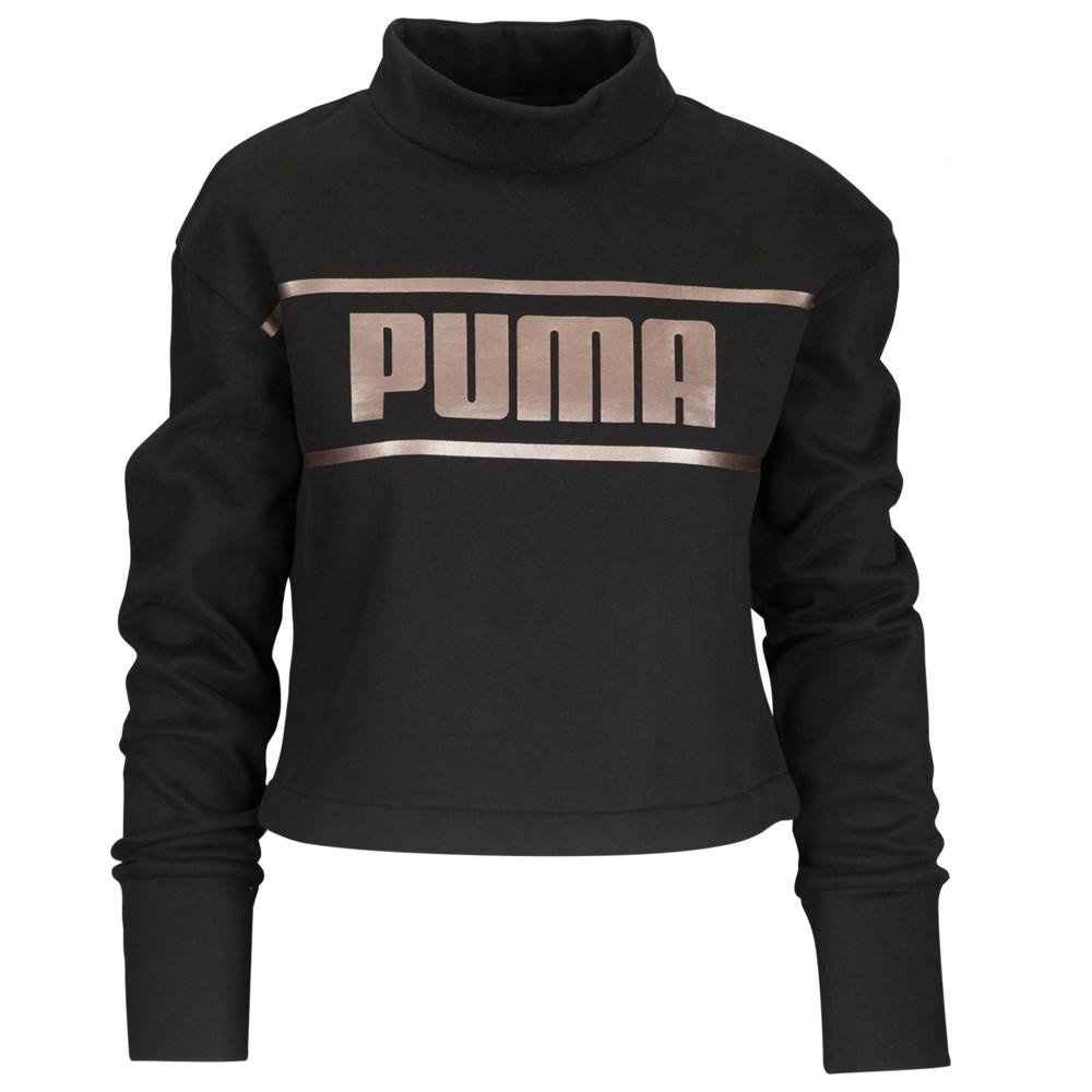 プーマ PUMA レディース トップス ベアトップ・チューブトップ・クロップド【Metallic Cropped Crew】Black/Bronze