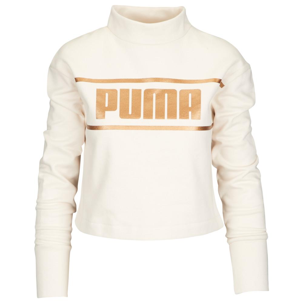 プーマ PUMA レディース トップス ベアトップ・チューブトップ・クロップド【Metallic Cropped Crew】Birch/Bronze Medal