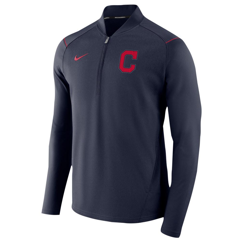 ナイキ Nike メンズ アウター ジャケット【MLB 1/2 Zip Elite Game Jacket】MLB Cleveland Indians Navy Heather