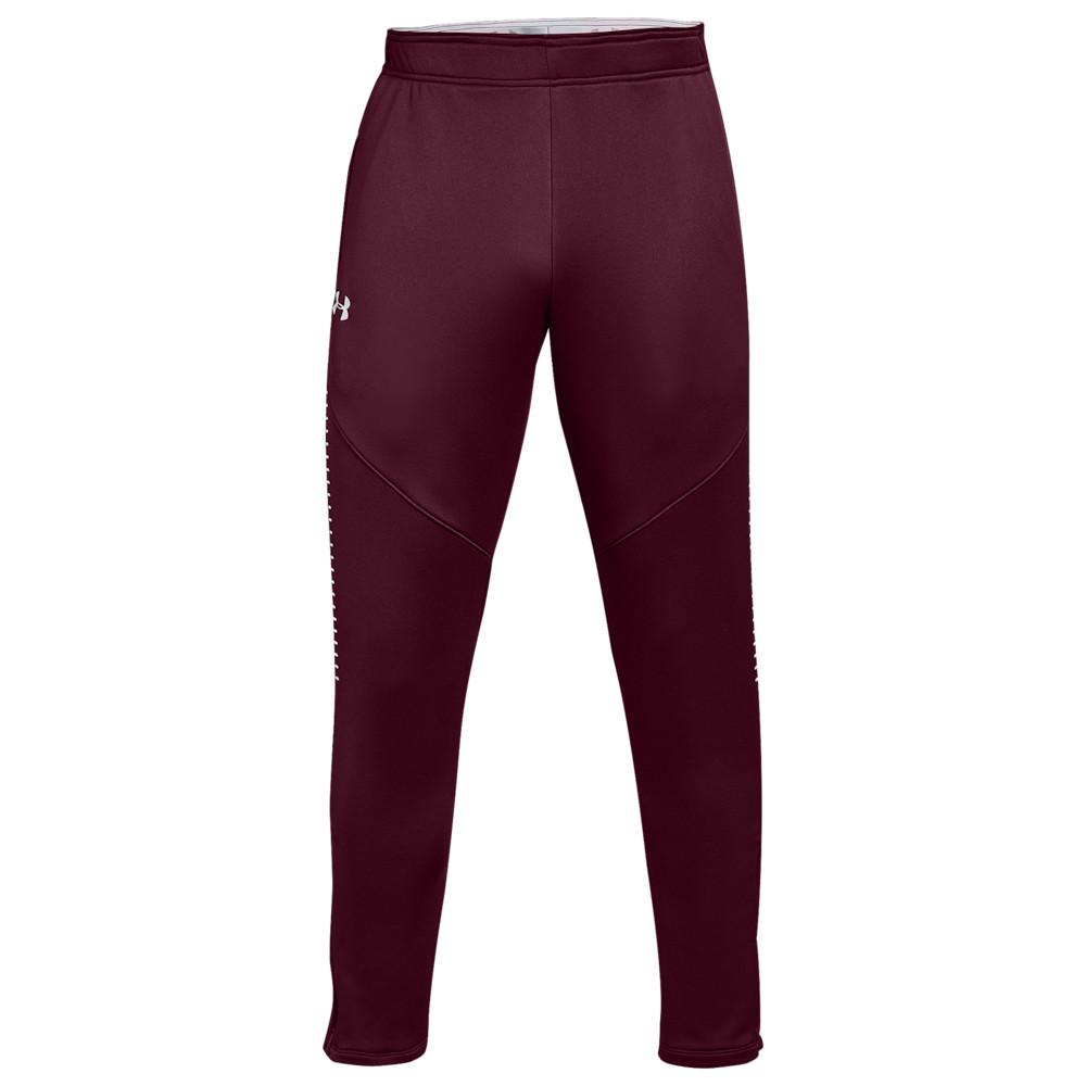アンダーアーマー Under Armour メンズ フィットネス・トレーニング ボトムス・パンツ【Team Qualifier Hybrid Warm-Up Pants】Maroon/White
