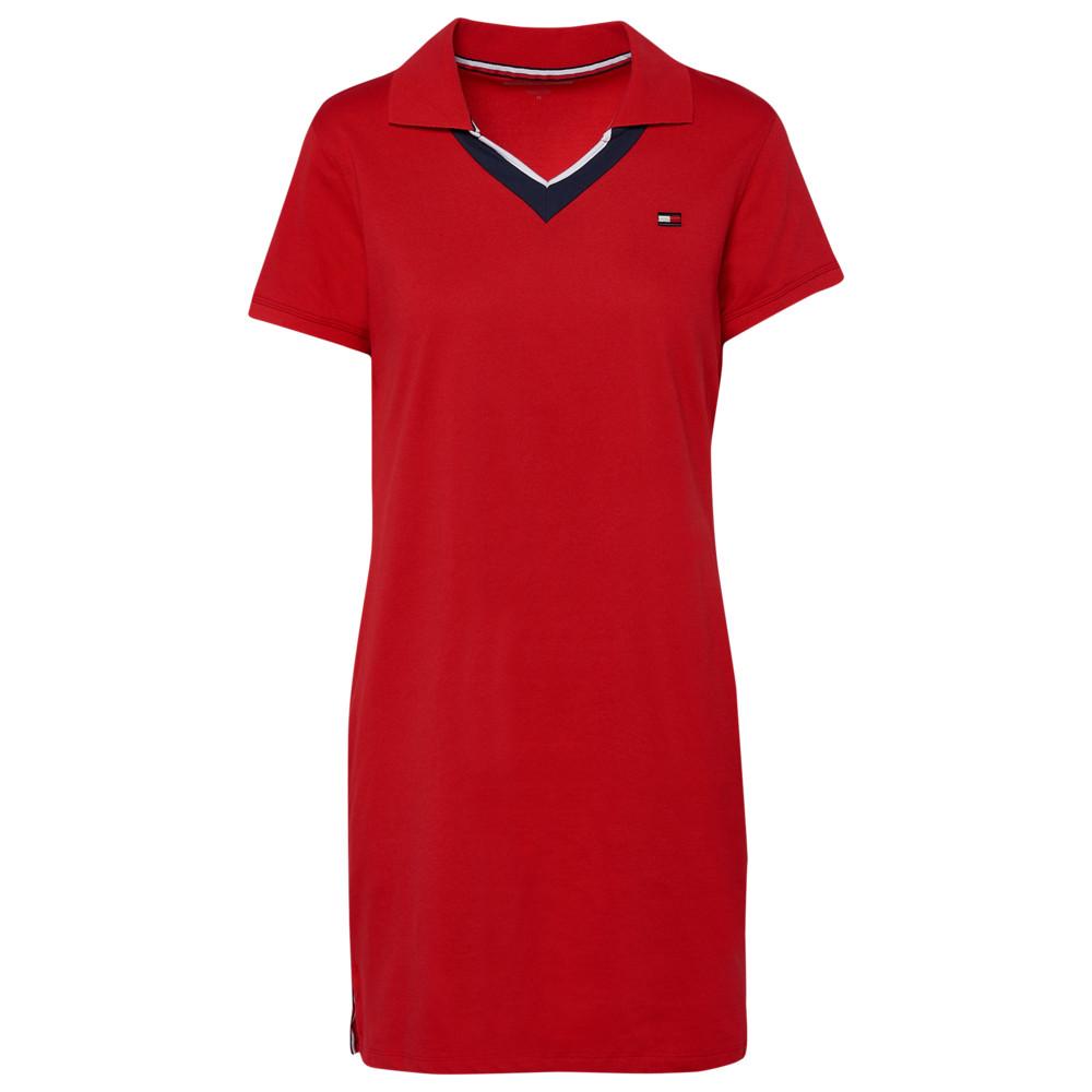 トミー ヒルフィガー Tommy Hilfiger レディース ワンピース Vネック ポロ ワンピース・ドレス【V-Neck Short Sleeve Polo Dress】Red