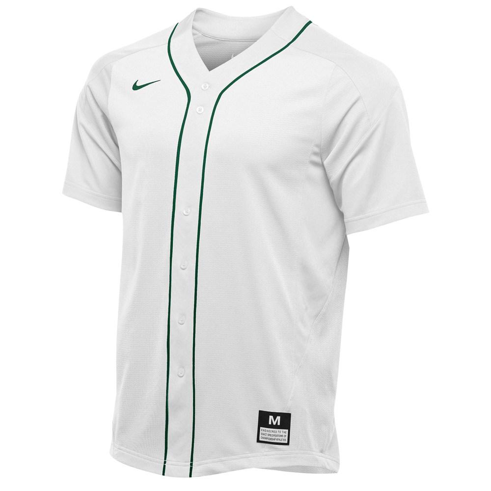 ナイキ Nike メンズ 野球 トップス【Team Vapor Full Button Dinger Jersey】白い/Dark 緑/Dark 緑