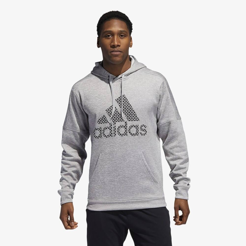 アディダス adidas メンズ フィットネス・トレーニング パーカー トップス【Badge of Sport Team Issue Pullover Hoodie】Medium Grey Heather/Black/White