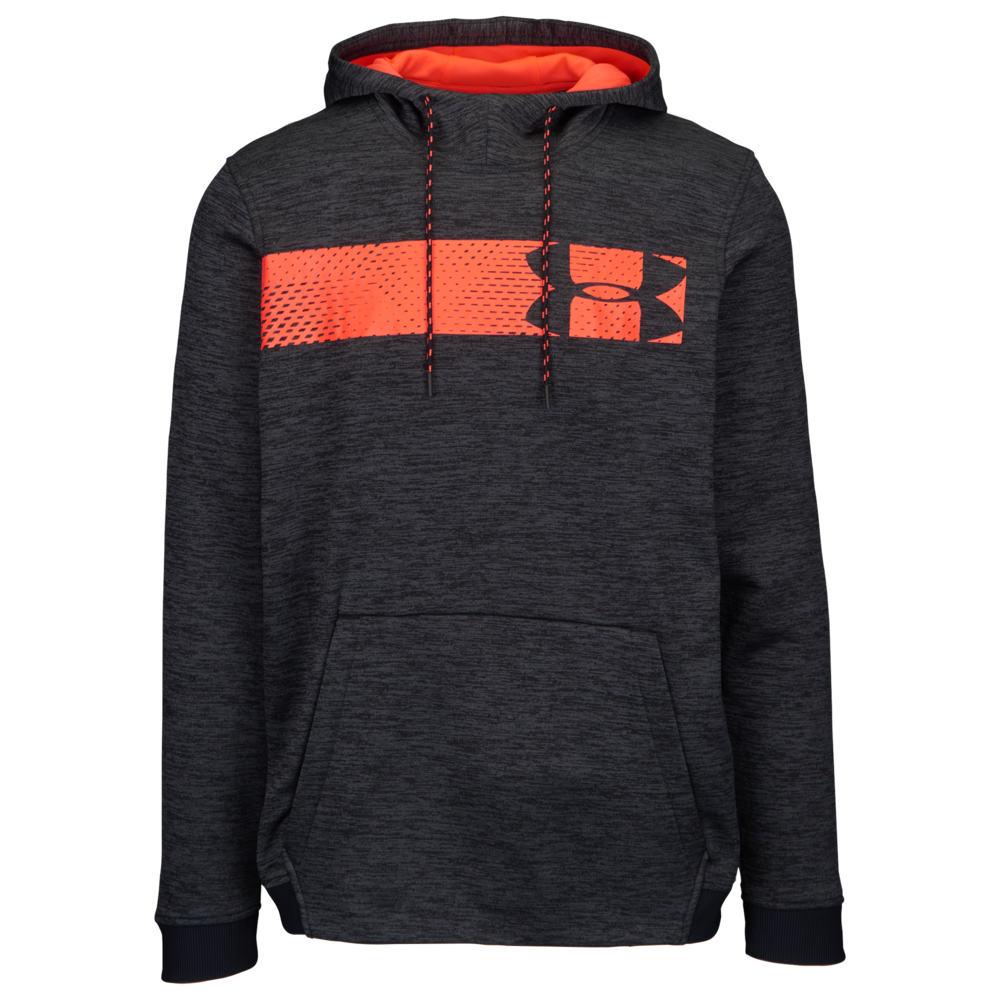 アンダーアーマー Under Armour メンズ フィットネス・トレーニング パーカー トップス【Armour Fleece Graphic Logo P/O Hoodie】Black/Beta Red
