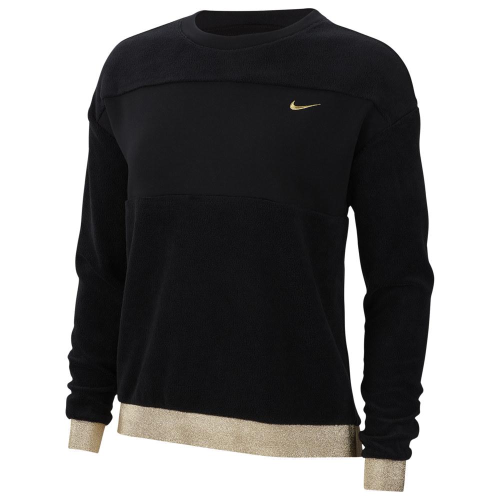 ナイキ Nike レディース フィットネス・トレーニング トップス【Glam Dunk Therma Fleece Crew】Black/Metallic Gold