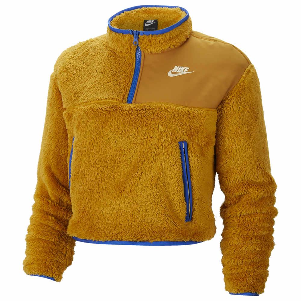 ナイキ Nike レディース ベアトップ・チューブトップ・クロップド トップス【Crop Sherpa 1/4 Zip Pullover】Gold Suede/Game Royal/Pale Vanilla