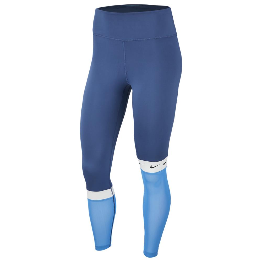 ナイキ Nike レディース フィットネス・トレーニング タイツ・スパッツ スパッツ・レギンス ボトムス・パンツ【One Colorblock 7/8 Swoosh Tights】Mystic Navy