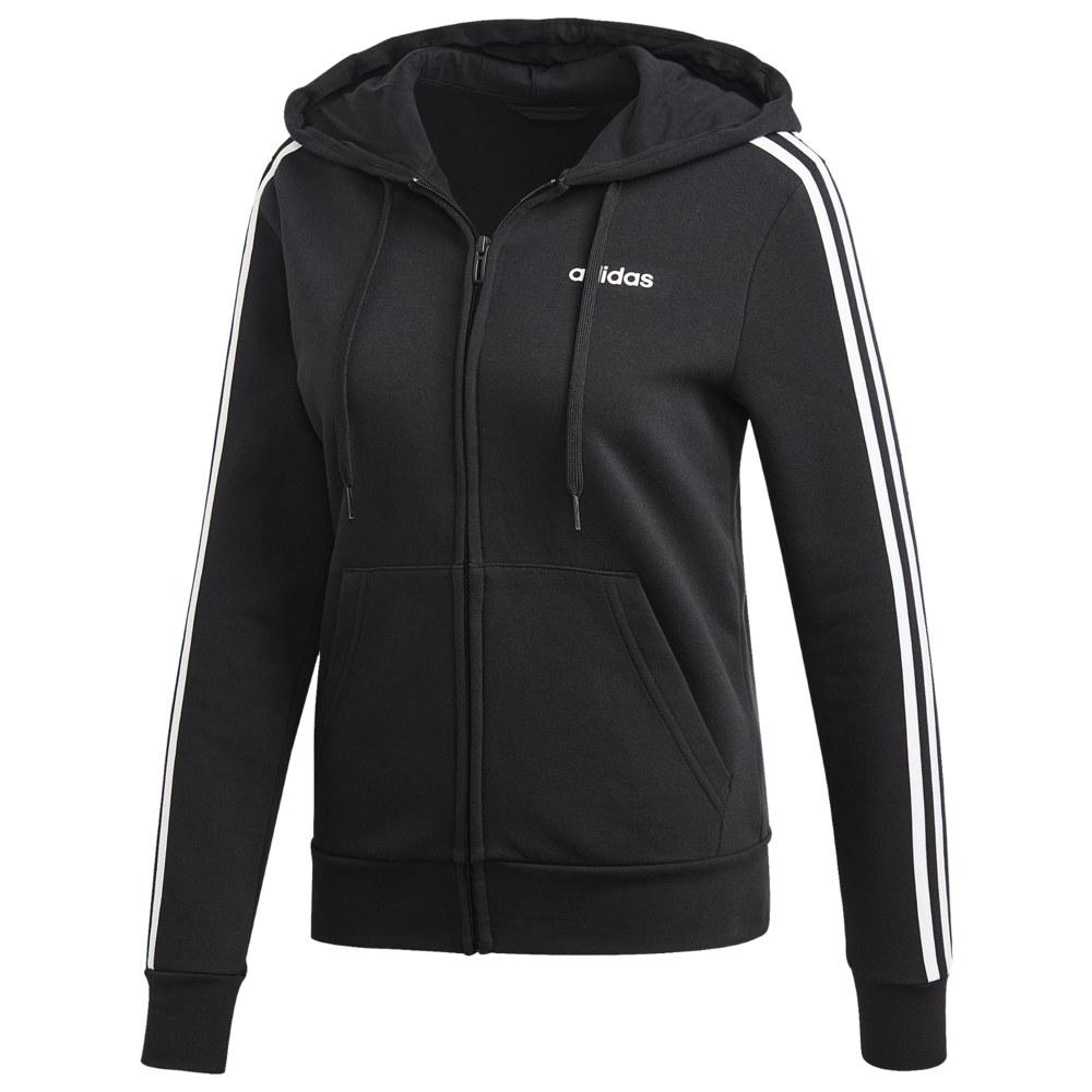 アディダス adidas Athletics レディース パーカー トップス【3-Stripes Cotton Full-Zip Hoodie】Black/White