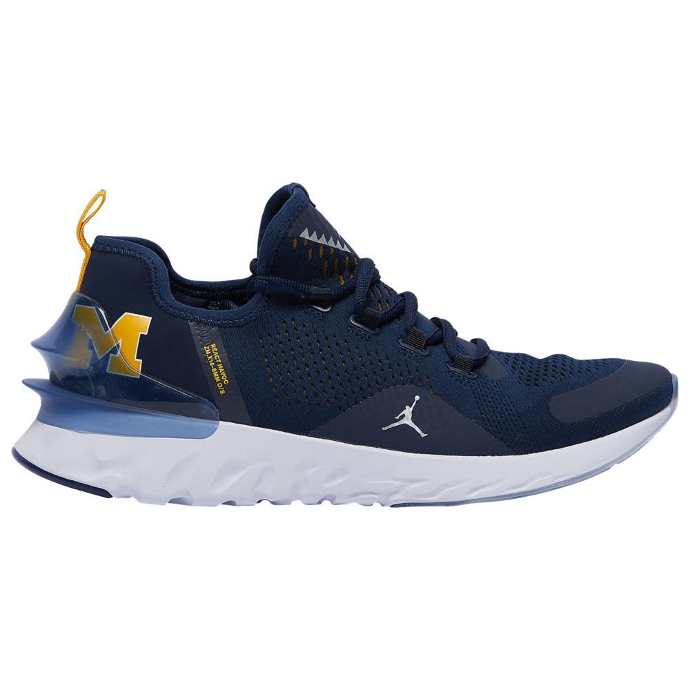 ナイキ ジョーダン Jordan メンズ フィットネス・トレーニング シューズ・靴【React Havoc】NCAA Michigan Wolverines College Navy/Metallic Silver/White/Amarillo