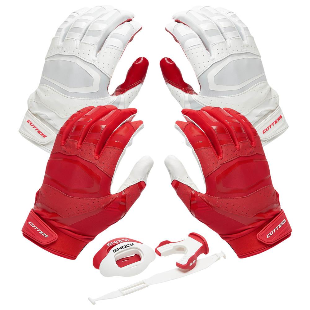 カッターズ Cutters ユニセックス アメリカンフットボール 【Rev Pro 3.0 Solid Flip Combo Pack】Red/White Includes Sets of Receiver Gloves and Mouthguard