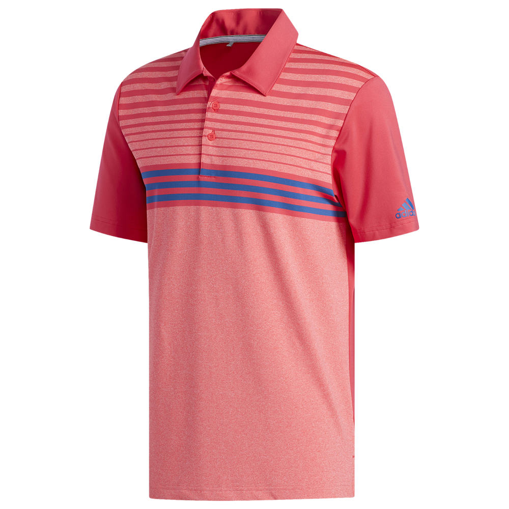 アディダス adidas メンズ ゴルフ ポロシャツ トップス【Ultimate 3-Stripe Heather Gradient Polo】Shock Red/Active Pink/Dark Marine