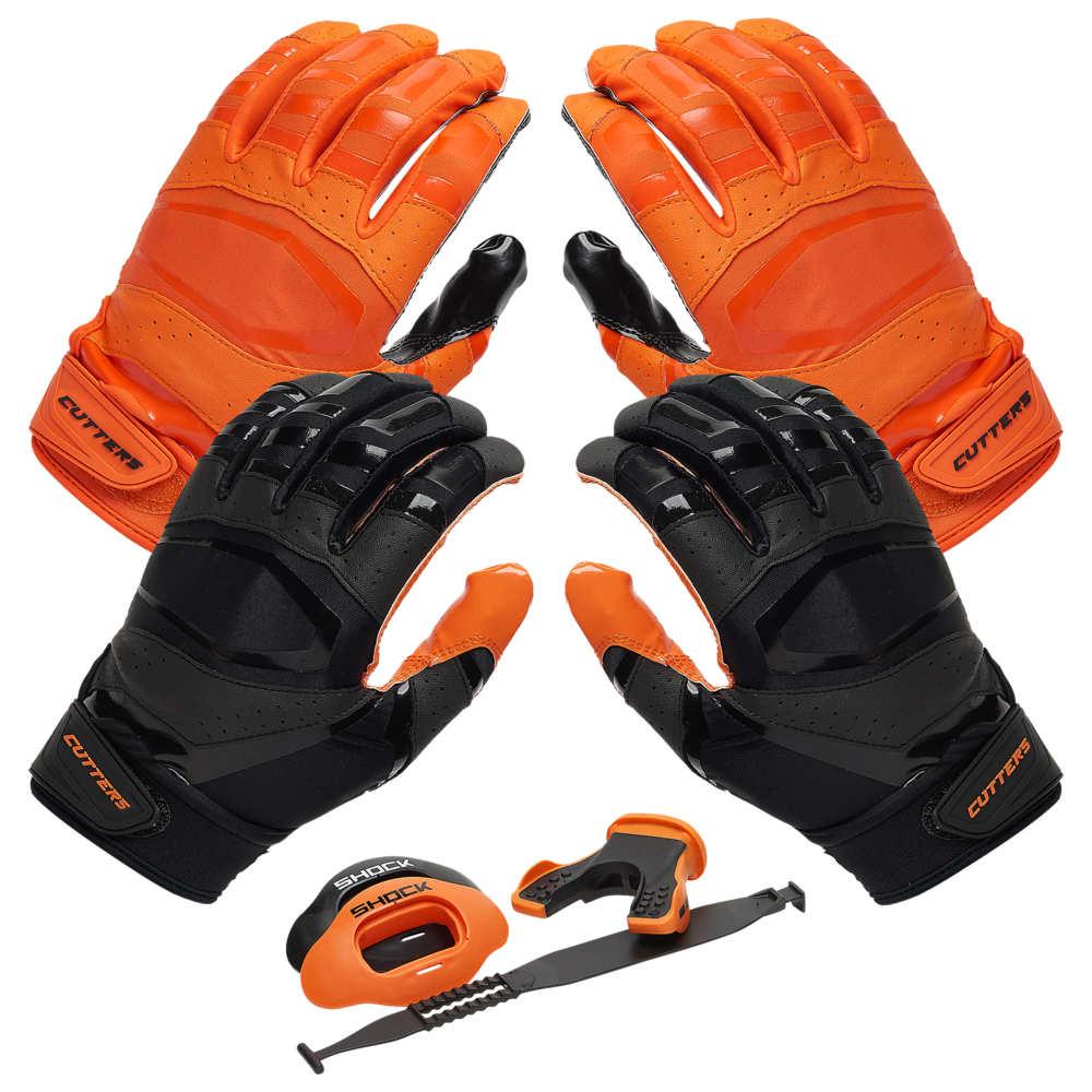 カッターズ Cutters ユニセックス アメリカンフットボール 【Rev Pro 3.0 Solid Flip Combo Pack】Orange/Black Includes Sets of Receiver Gloves and Mouthguard