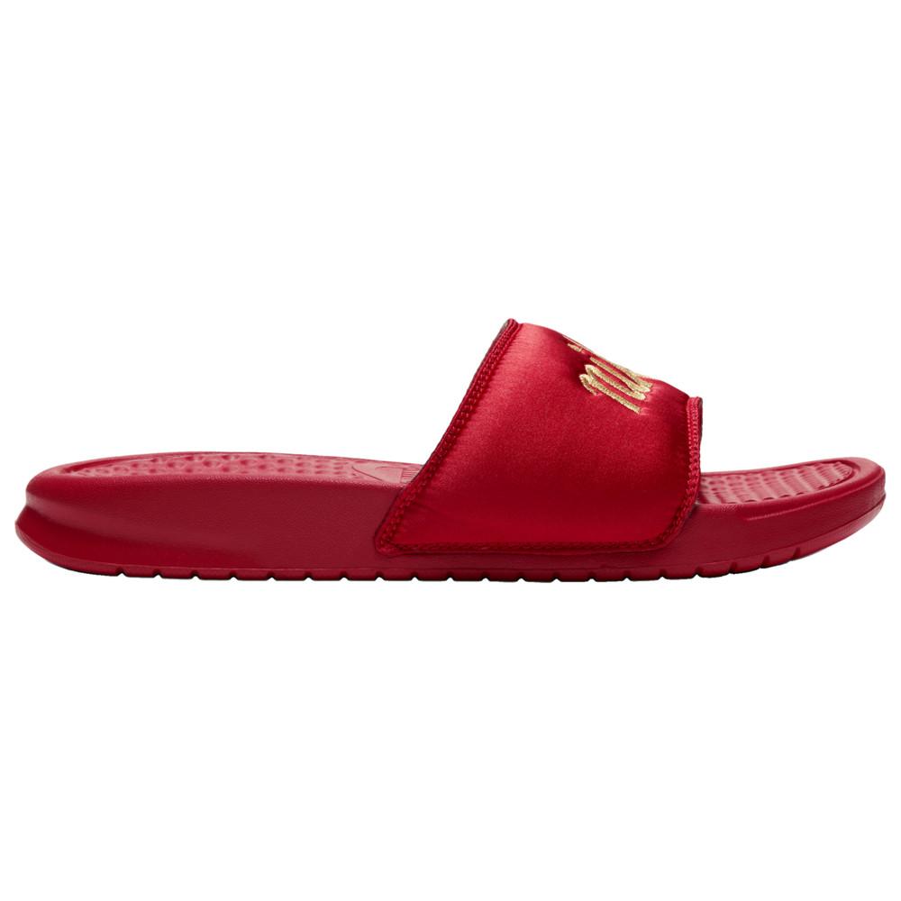ナイキ Nike レディース サンダル・ミュール シューズ・靴【Benassi JDI SE TXT Slide】University Red/Metallic Gold Glam Dunk