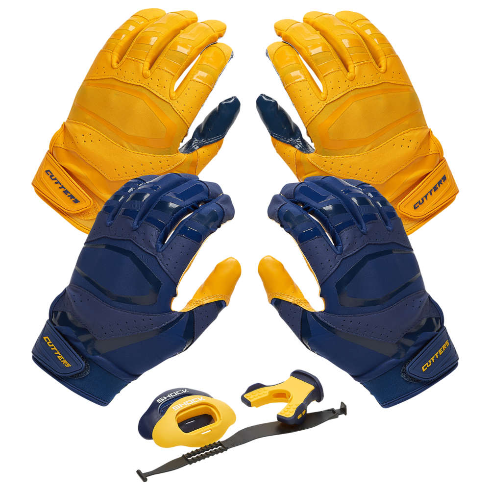 カッターズ Cutters ユニセックス アメリカンフットボール 【Rev Pro 3.0 Solid Flip Combo Pack】Navy/Gold Includes Sets of Receiver Gloves and Mouthguard