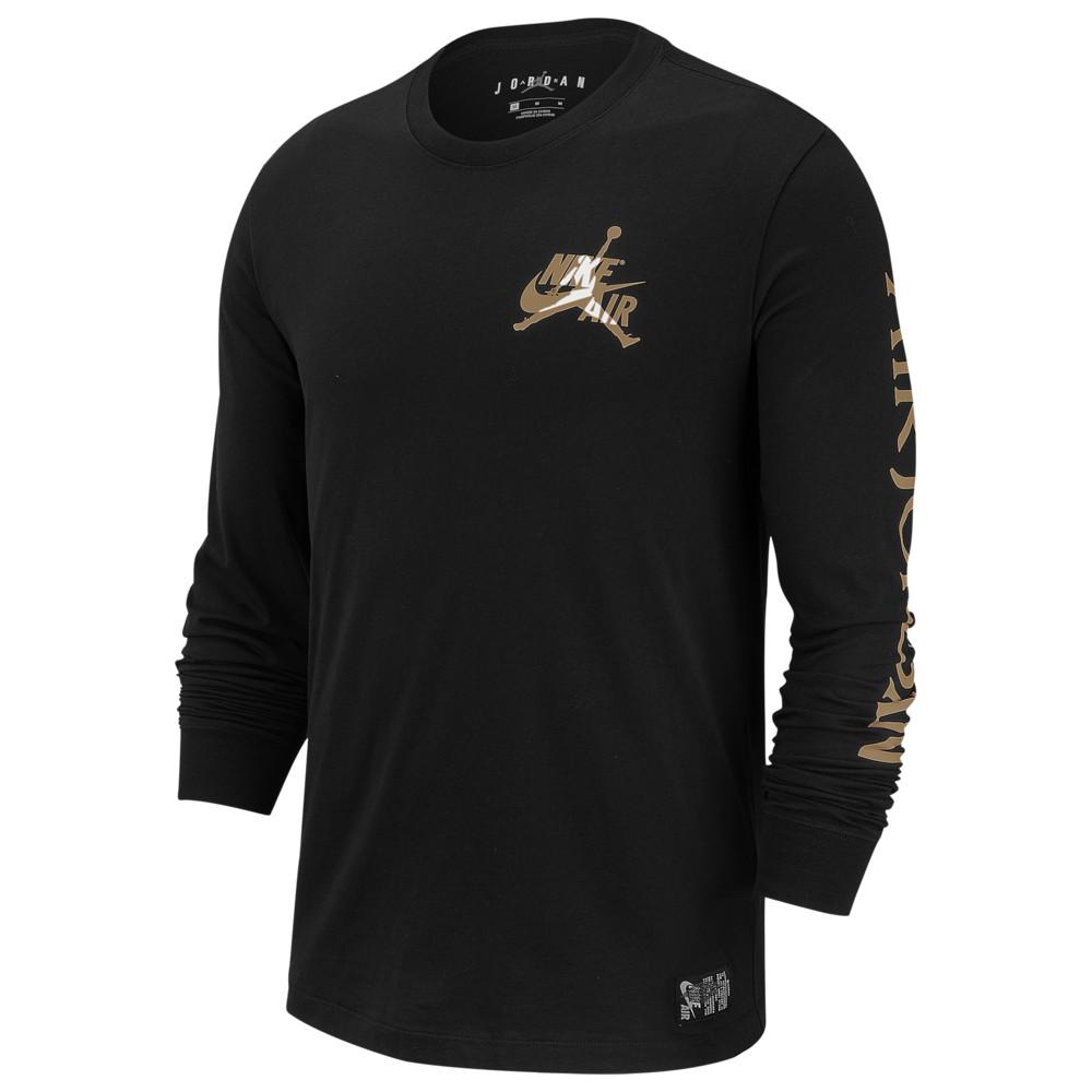 ナイキ ジョーダン Jordan メンズ バスケットボール 長袖Tシャツ トップス【Classics Long Sleeve Crew T-Shirt】Black/Metallic Gold