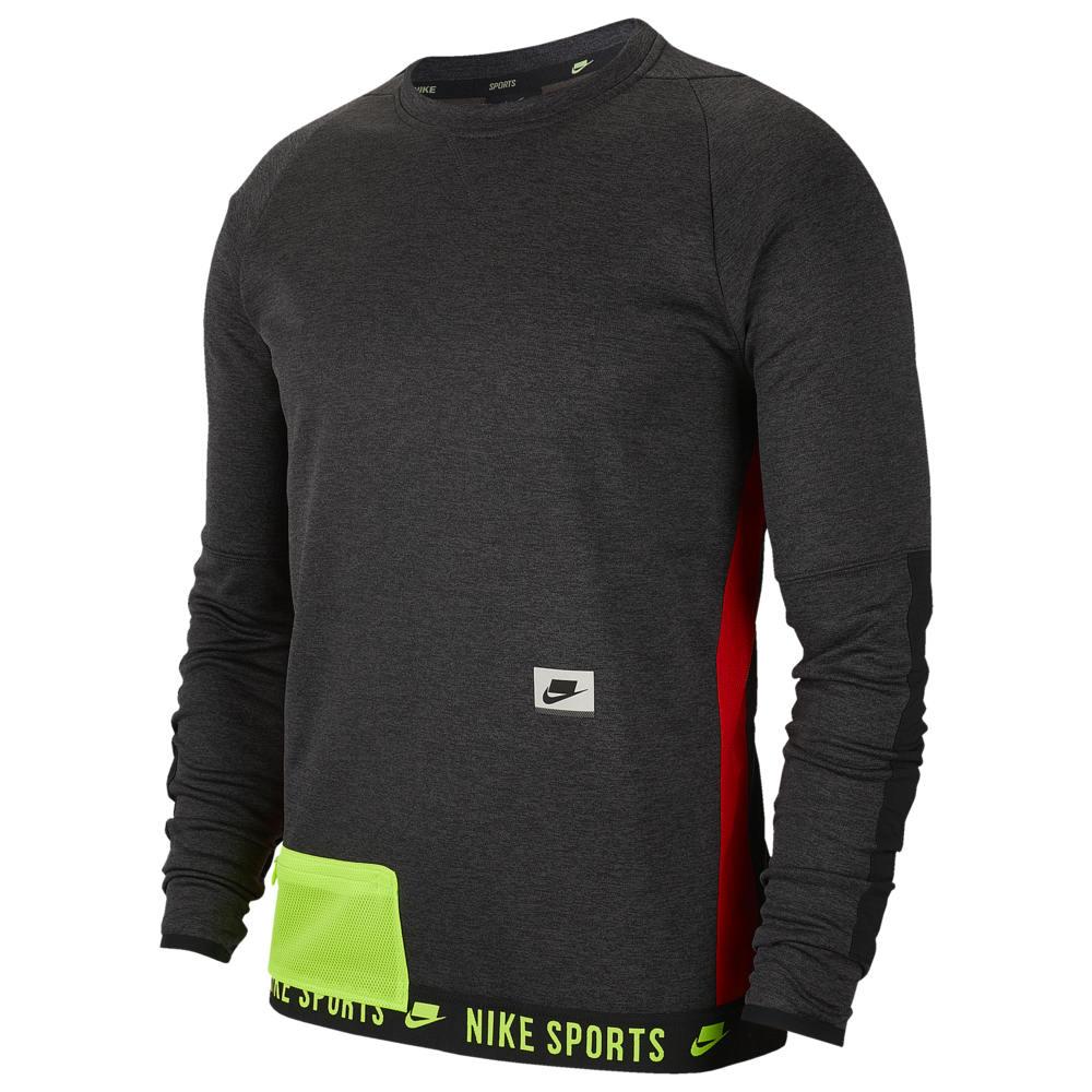 ナイキ Nike メンズ フィットネス・トレーニング トップス【Therma Fleece PX Pullover Crew】Black Heather/Black/Electric Green Sport Clash