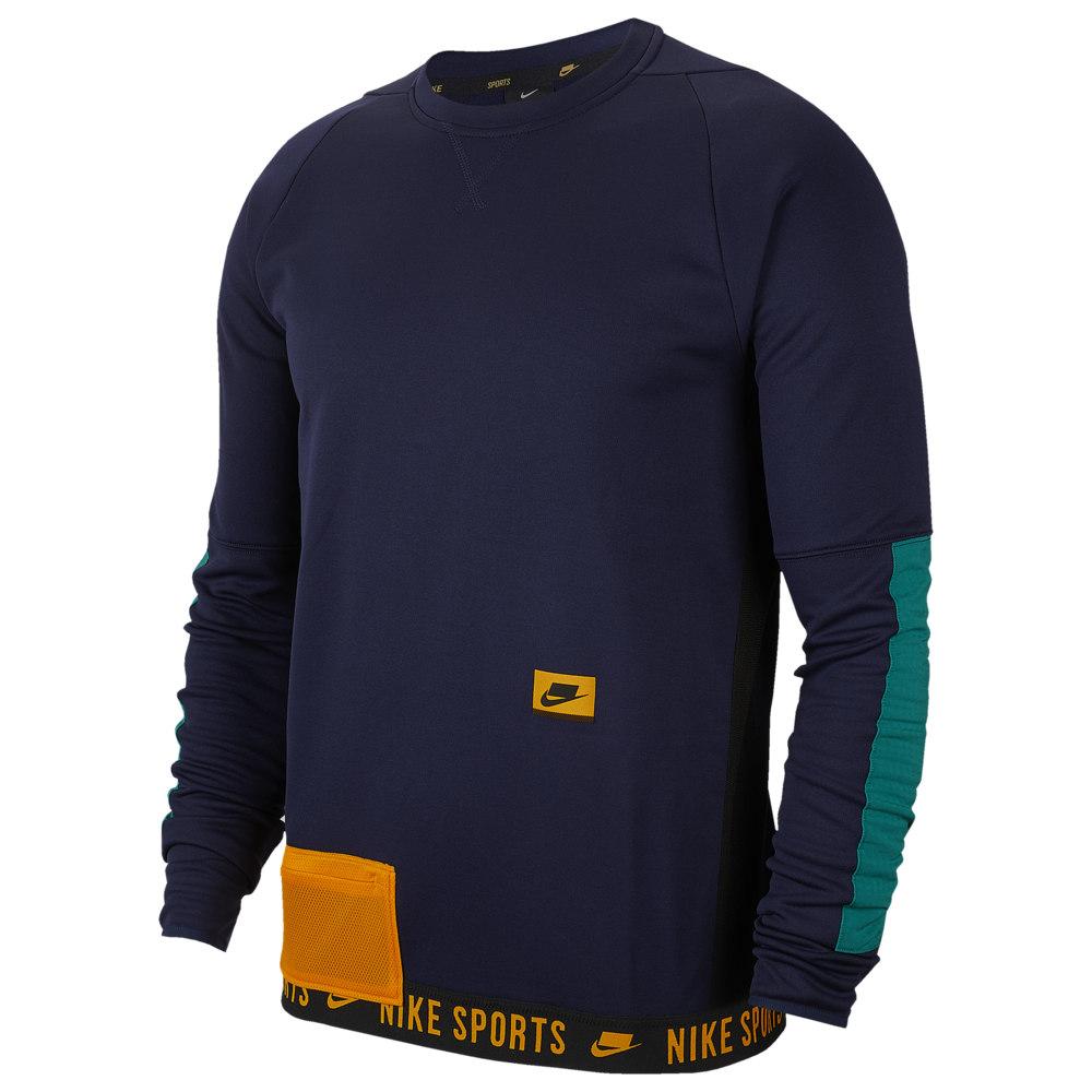 ナイキ Nike メンズ フィットネス・トレーニング トップス【Therma Fleece PX Pullover Crew】Blackened Blue/Mystic Green/Kumquat Sport Clash