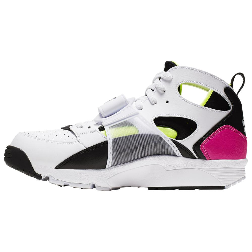 ナイキ Nike メンズ フィットネス・トレーニング スニーカー シューズ・靴【Air Trainer Huarache】白い/黒/Laser Fuchsia/Volt