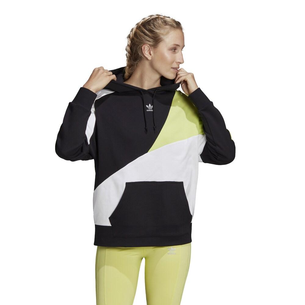 アディダス adidas Originals レディース パーカー トップス【Colorblock Hoodie】Black/Reflective Silver/Semi Frozen Yellow