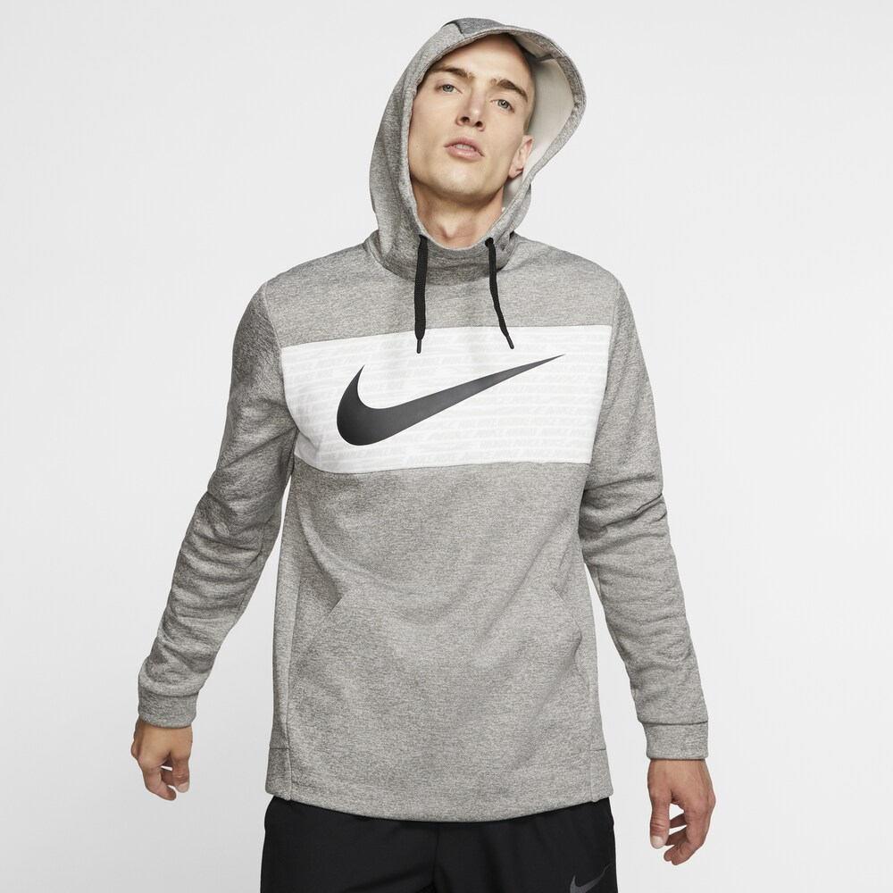 ナイキ Nike メンズ フィットネス・トレーニング パーカー トップス【Therma Fleece Graphic Swoosh Block Hoodie】Dark Grey Heather/Black