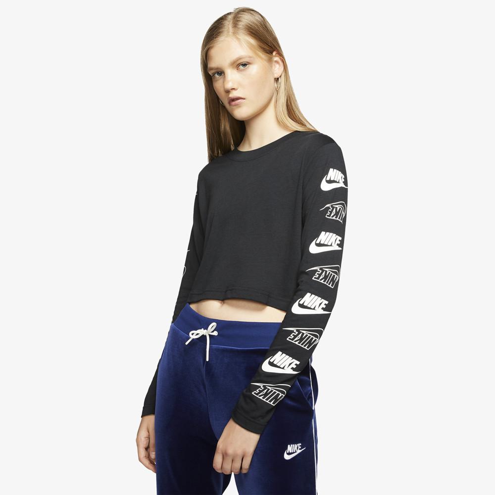 ナイキ Nike レディース 長袖Tシャツ トップス【Flip Futura Long Sleeve】Black/White