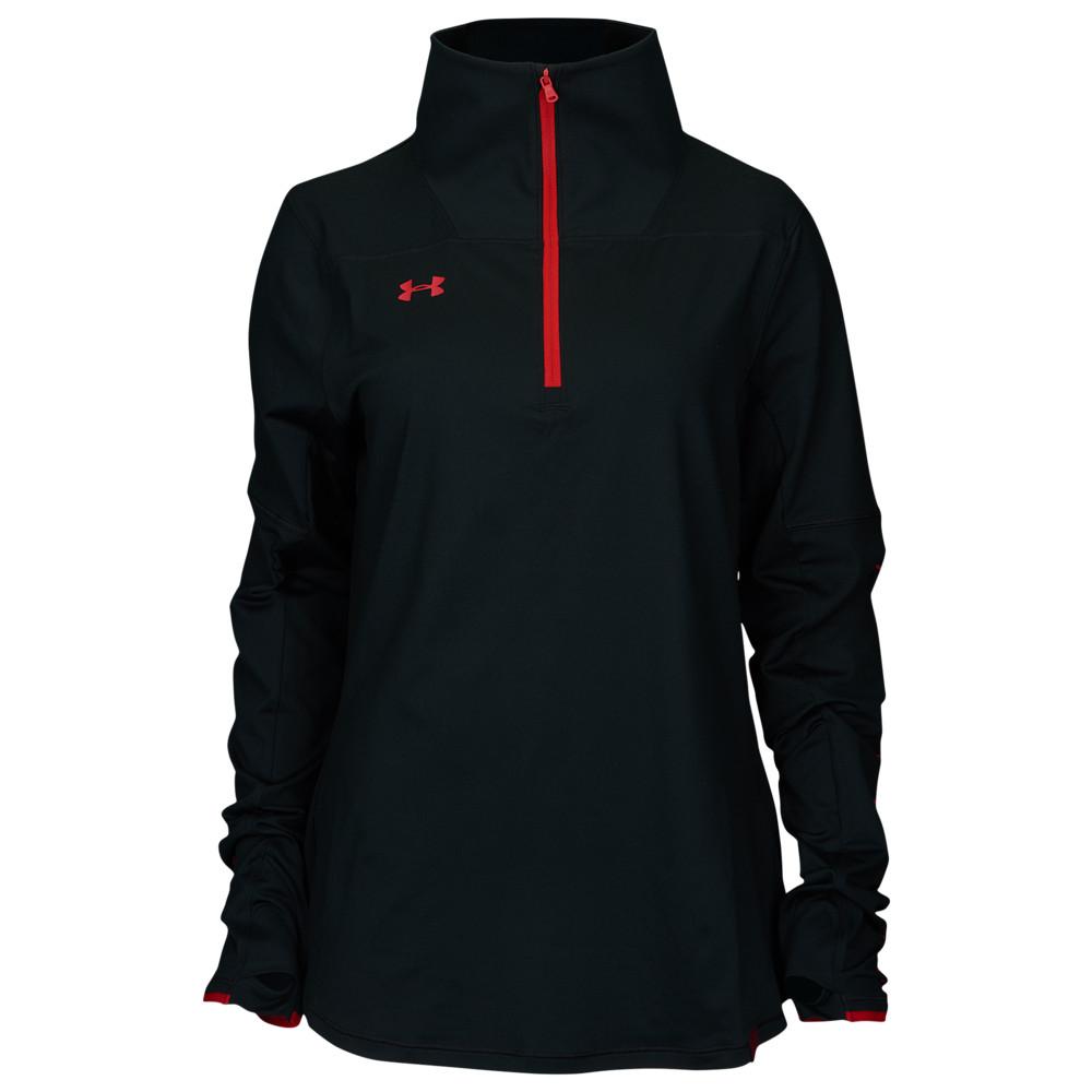 アンダーアーマー Under Armour レディース フィットネス・トレーニング ハーフジップ トップス【Team Knit 1/2 Zip】Black/Red