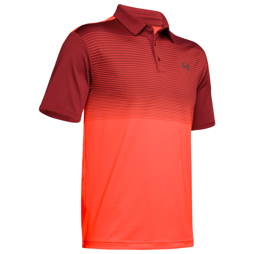 アンダーアーマー Under Armour メンズ ゴルフ ポロシャツ トップス【Playoff Golf Polo 2.0】Stadium 赤/Pitch Gray Radial Stripe