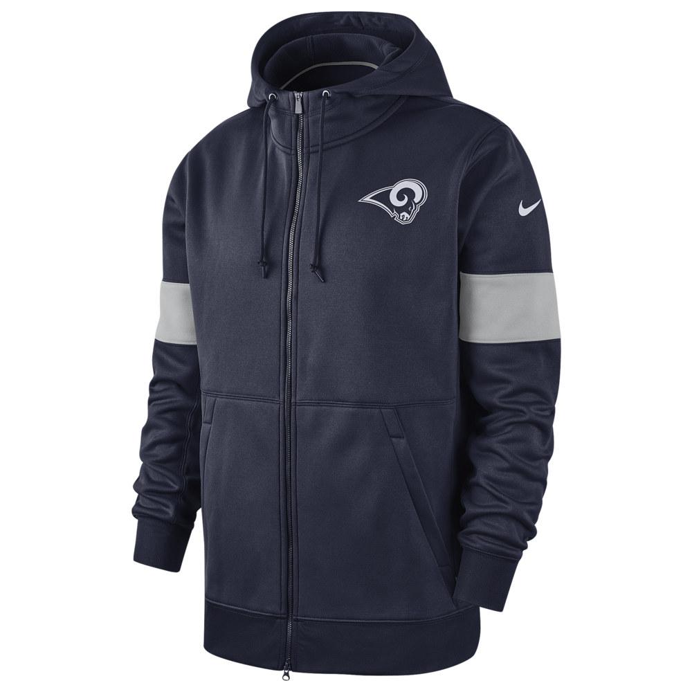 ナイキ Nike メンズ アメリカンフットボール トップス【NFL Therma Full-Zip Hoodie】NFL Los Angeles Rams College Navy