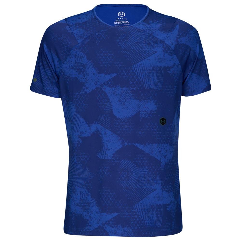 アンダーアーマー Under Armour メンズ フィットネス・トレーニング Tシャツ トップス【Rush Fitted T-Shirt】Royal/Black