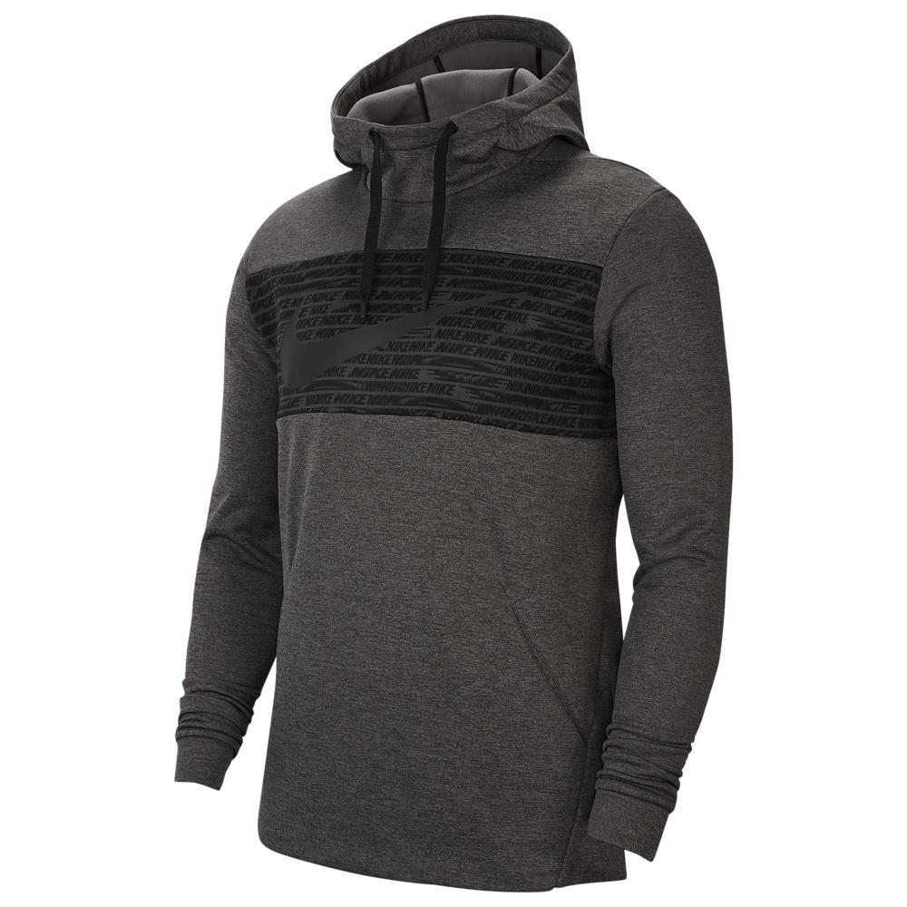 ナイキ Nike メンズ フィットネス・トレーニング パーカー トップス【Therma Fleece Graphic Swoosh Block Hoodie】Charcoal Heather/White