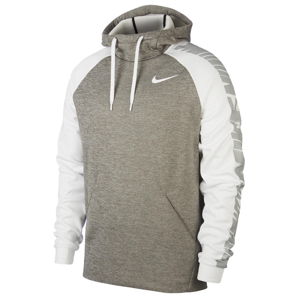 ナイキ Nike メンズ フィットネス・トレーニング パーカー トップス【Therma Fleece Sleeve Graphic Hoodie】Dark Grey Heather/White