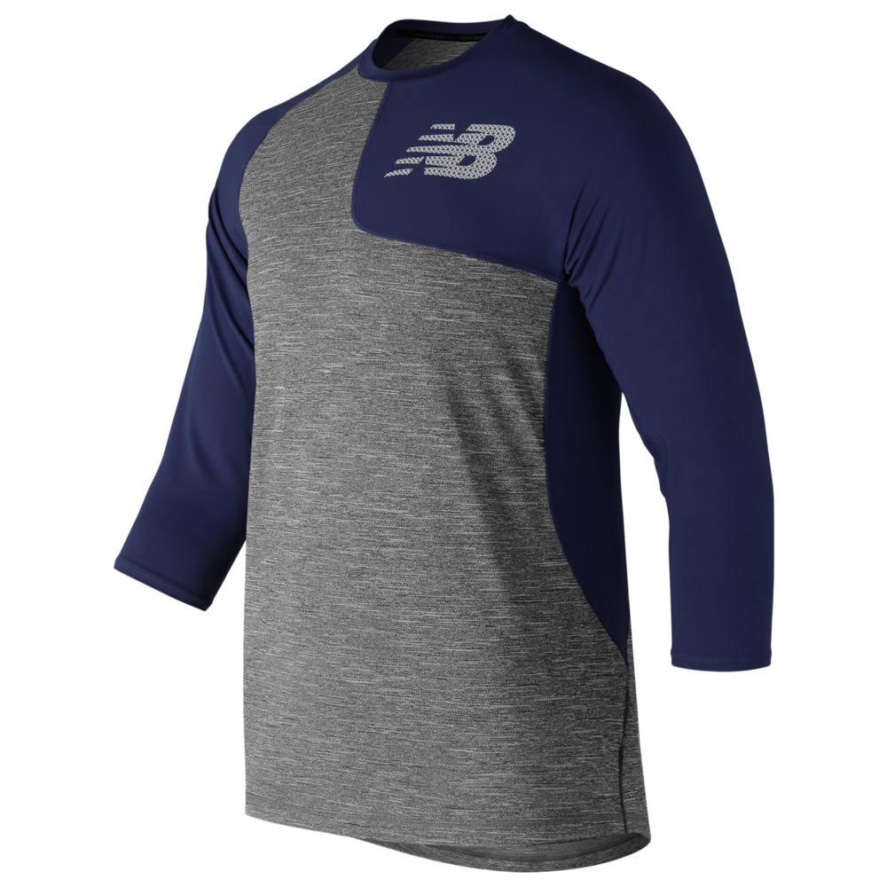 ニューバランス New Balance メンズ 野球 七分袖 トップス【ASYM 2.0 Left Shirt 3/4 Sleeve】Navy