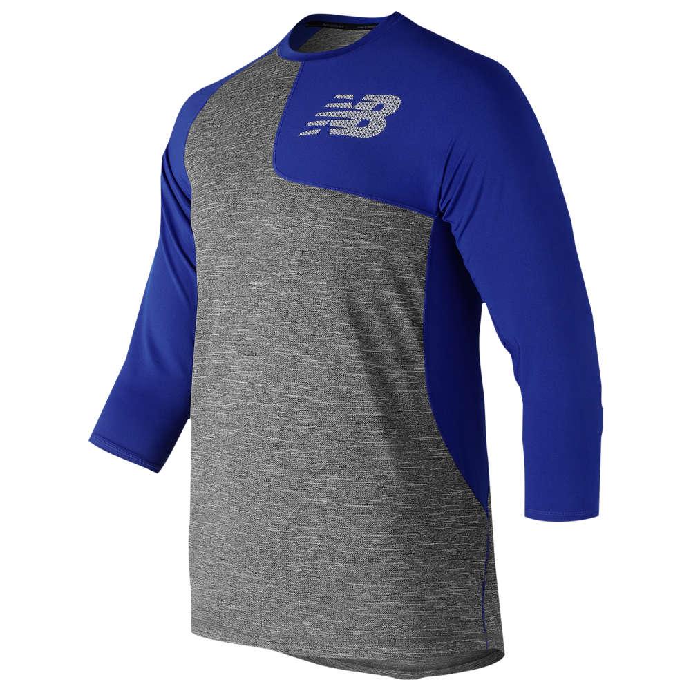 ニューバランス New Balance メンズ 野球 七分袖 トップス【ASYM 2.0 Left Shirt 3/4 Sleeve】Royal