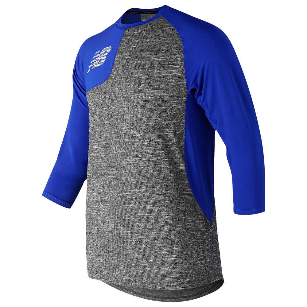 ニューバランス New Balance メンズ 野球 七分袖 トップス【ASYM 2.0 Right Shirt 3/4 Sleeve】Royal