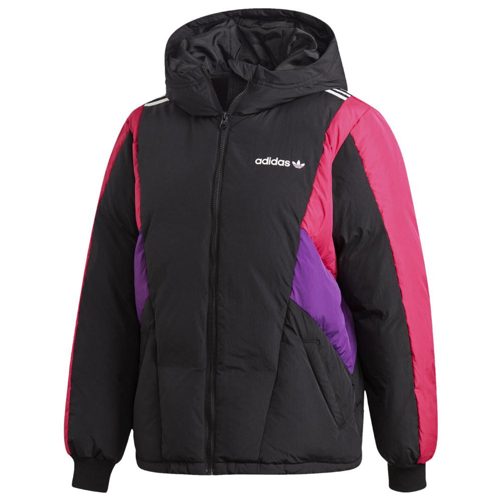 アディダス adidas レディース ダウン・中綿ジャケット アウター【90's Block Shirt Down Jacket】Black/Tribe Purple/Bold Pink