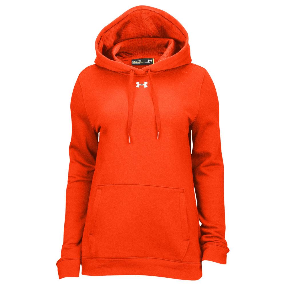 アンダーアーマー Under Armour レディース フィットネス・トレーニング パーカー トップス【Team Hustle Fleece Hoodie】Dark Orange/White