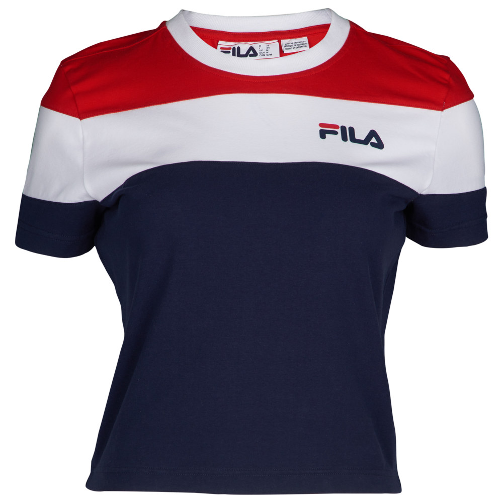 フィラ Fila レディース ベアトップ・チューブトップ・クロップド トップス【Maya Crop T-Shirt】Peacoat/Chinese Red/White