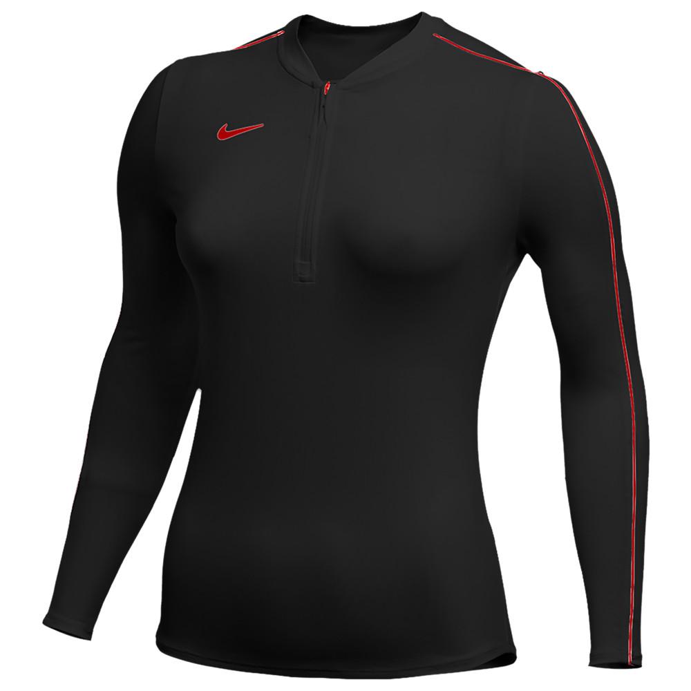 ナイキ Nike レディース フィットネス・トレーニング ハーフジップ トップス【Team Authentic Dry 1/2 Zip Top】Black/University Red