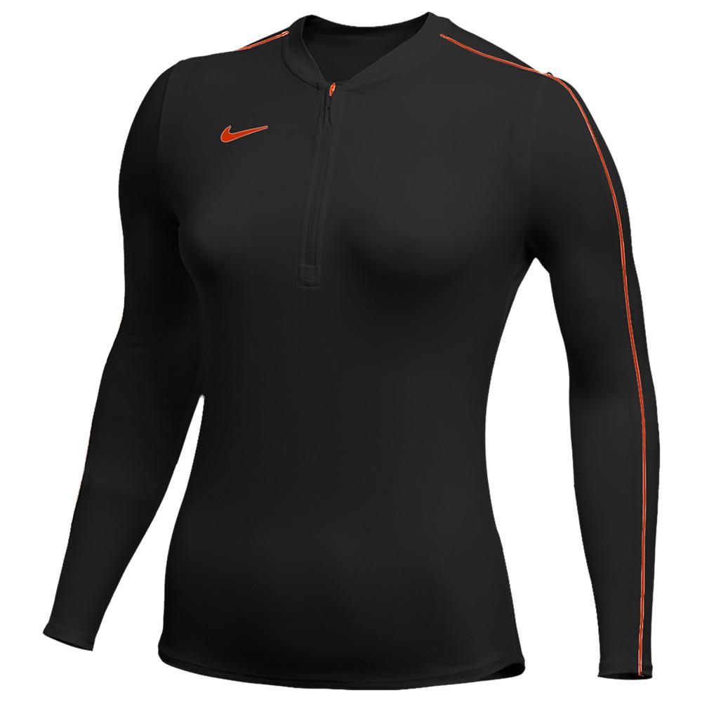 ナイキ Nike レディース フィットネス・トレーニング ハーフジップ トップス【Team Authentic Dry 1/2 Zip Top】Black/Team Orange