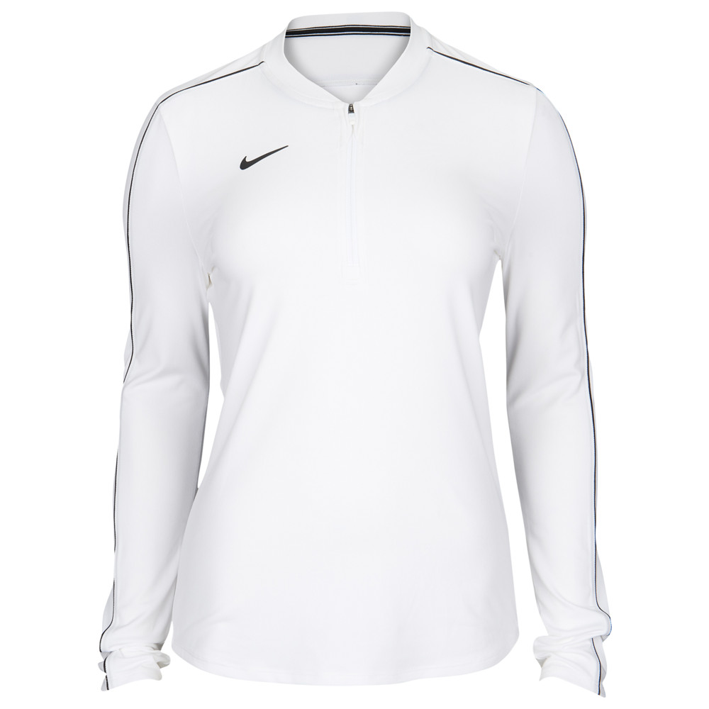 ナイキ Nike レディース フィットネス・トレーニング ハーフジップ トップス【Team Authentic Dry 1/2 Zip Top】White/Black
