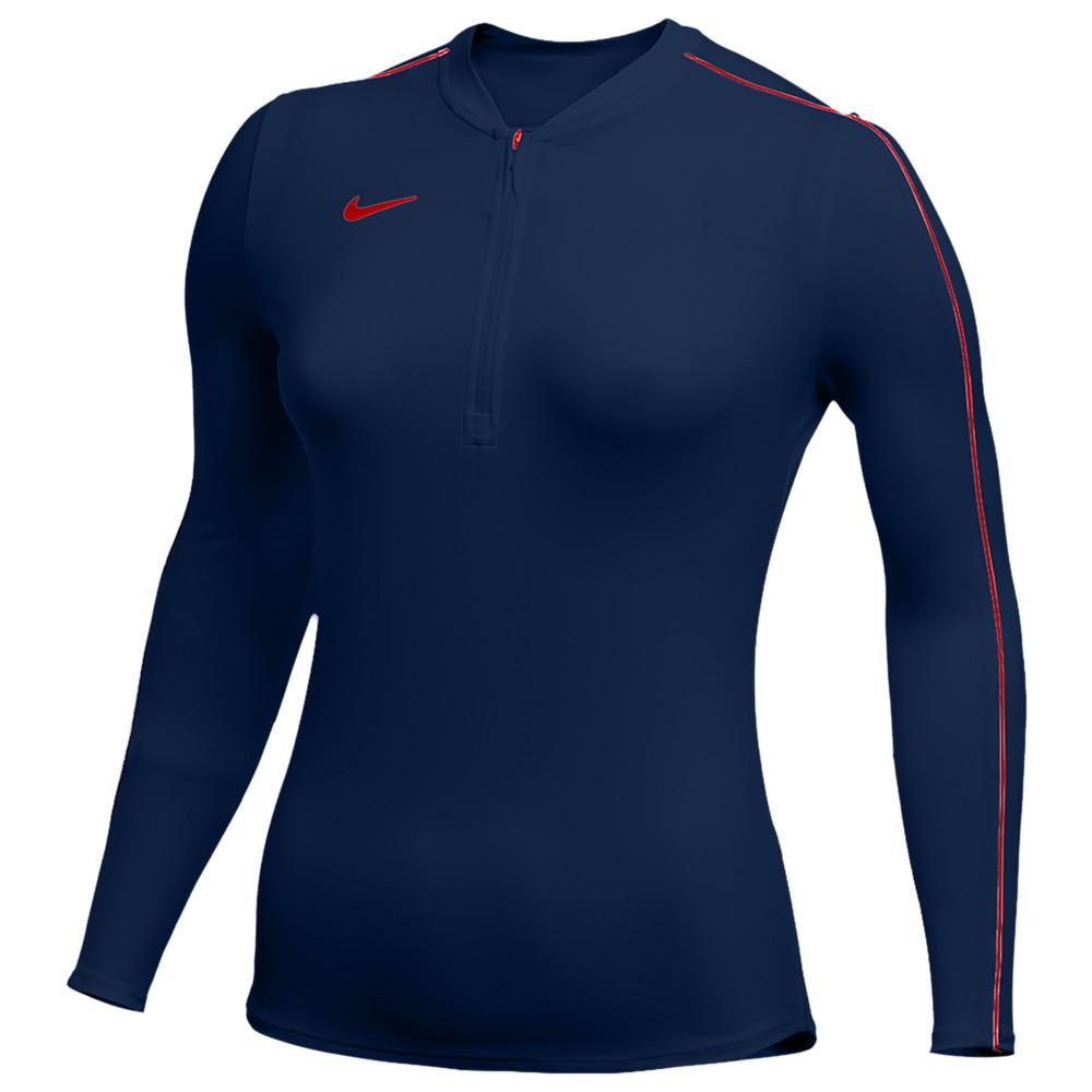 ナイキ Nike レディース フィットネス・トレーニング ハーフジップ トップス【Team Authentic Dry 1/2 Zip Top】College Navy/University Red