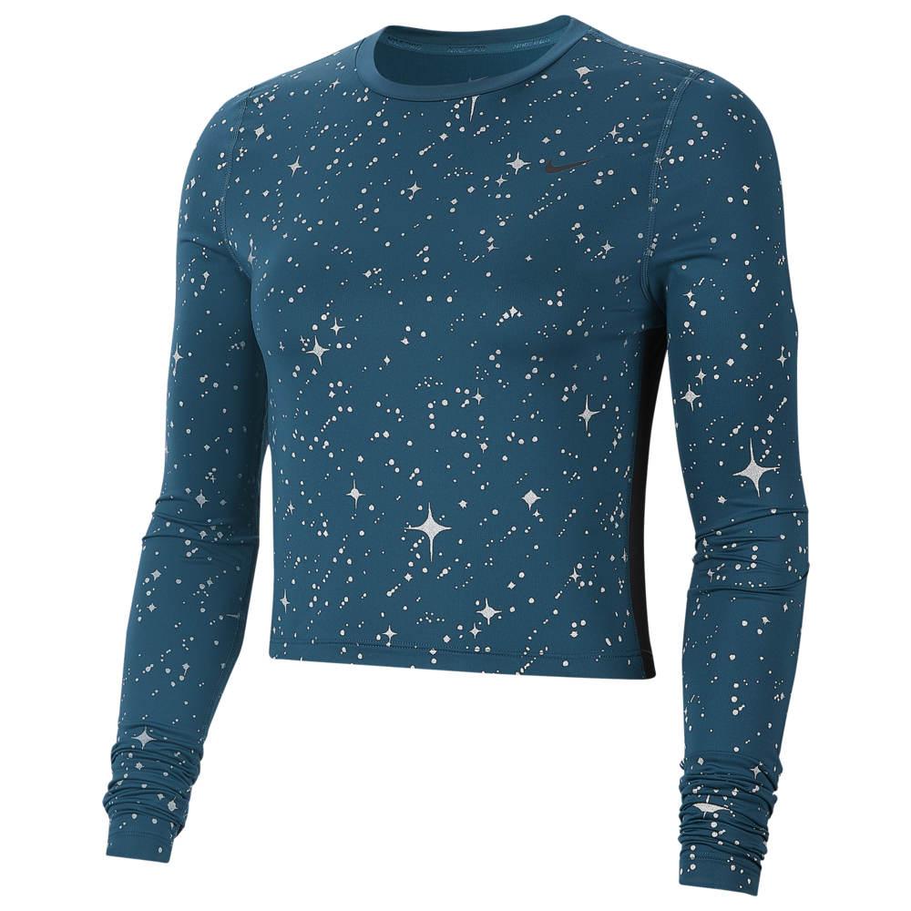 ナイキ Nike レディース フィットネス・トレーニング 長袖Tシャツ トップス【Pro Starry Night Metallic L/S T-Shirt】Midnight Turquoise/Midnight Turquoise/Black
