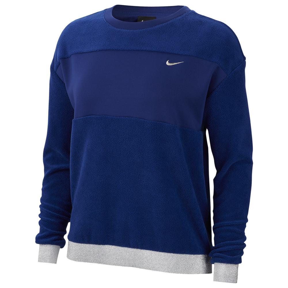 ナイキ Nike レディース フィットネス・トレーニング トップス【Glam Dunk Therma Fleece Crew】Deep Royal Blue/Metallic Silver