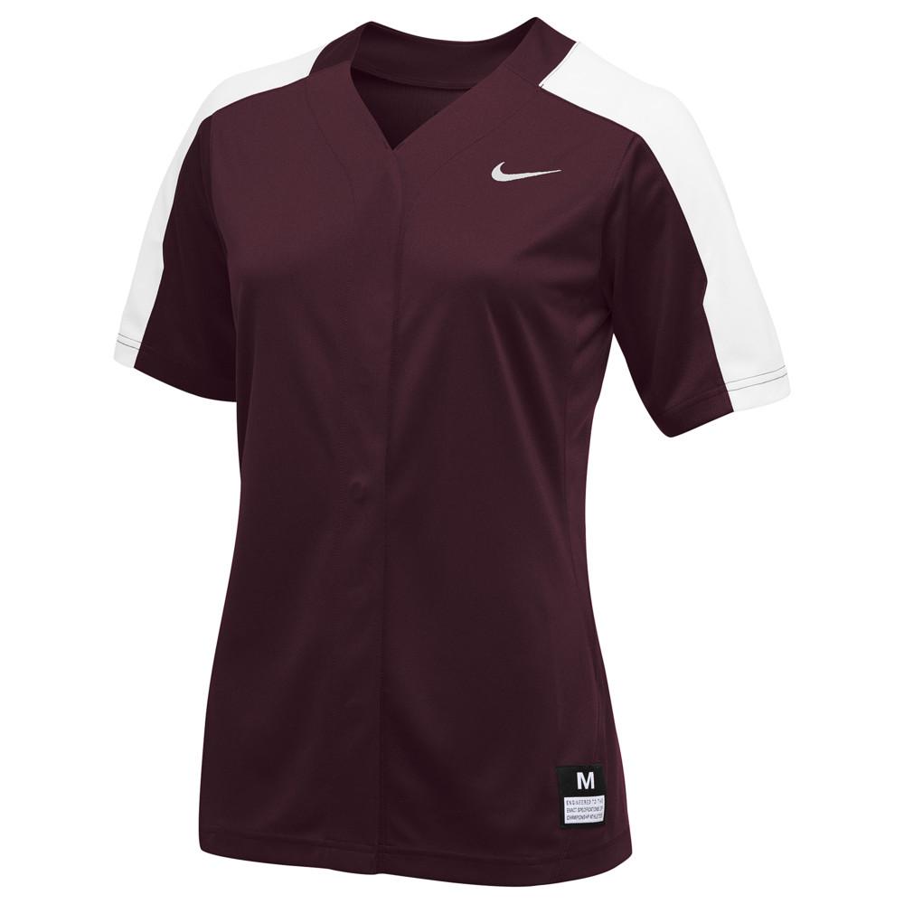 ナイキ Nike レディース 野球 トップス【Team Vapor Pro Full Button Jersey】Dark Maroon/White