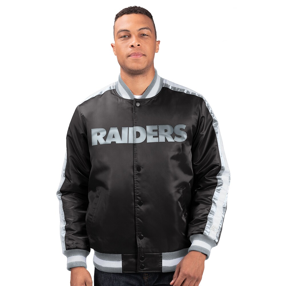 スターター Starter メンズ ブルゾン アウター【NFL The O-Line Varsity Jacket】NFL Oakland Raiders Black