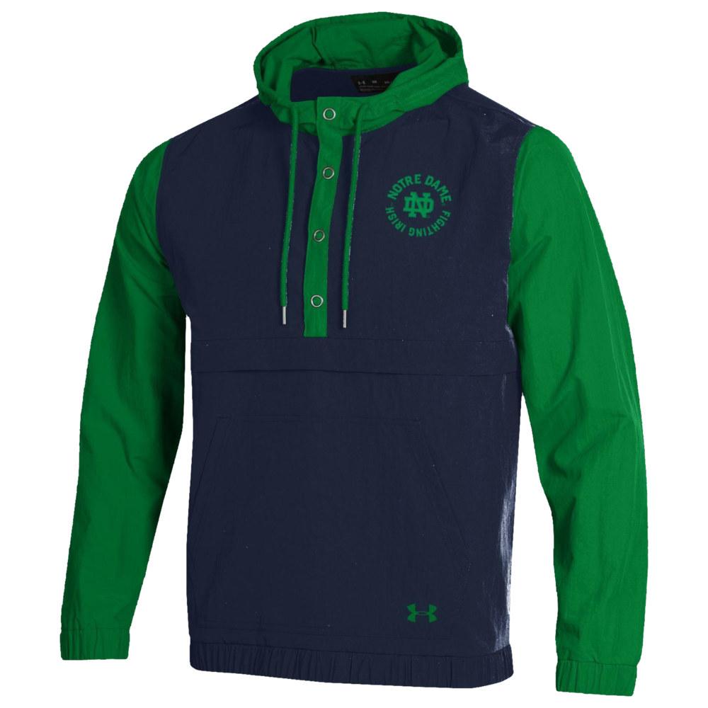 アンダーアーマー Under Armour メンズ ジャケット アノラック アウター【College Crinkle Anorak Jacket】NCAA Notre Dame Fighting Irish Navy/Green